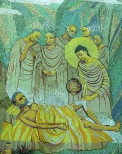 Buddha healing sick monk